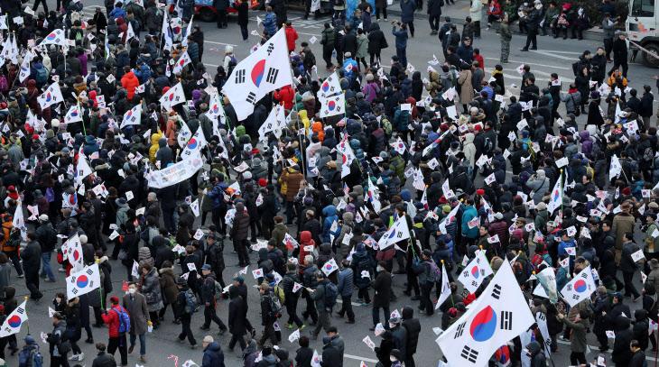 탄핵반대 집회 행진