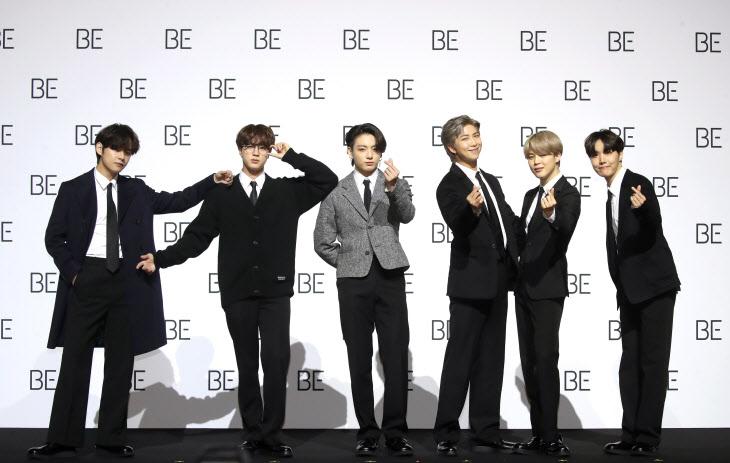 새 앨범 'BE' 발표하는 BTS<YONHAP NO-2125>