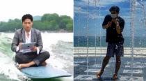 [SNS `픽`] `뼈그맨` 유세윤, 서핑보드 상황극으로 뉴스까지 출연